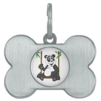 Oscilación del dibujo animado del oso de panda placas de nombre de mascota