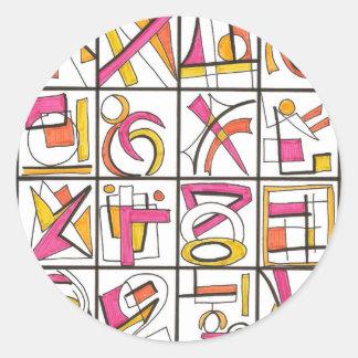 Oscilación fijado - dibujo abstracto multicolor de pegatina redonda