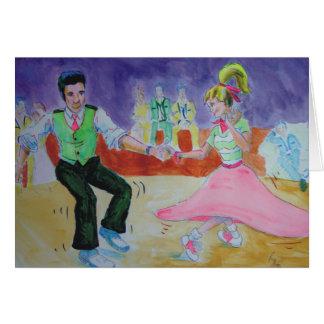 Oscilación que baila el sábado por la noche tarjeta de felicitación