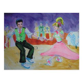 Oscilación que baila el sábado por la noche tarjeta postal