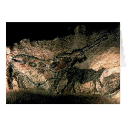 Oscile la pintura de un animal de cuernos, c.17000 tarjeta de felicitación