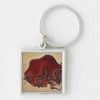 Oscile la pintura de un bisonte, último Magdalenia Llavero Cuadrado Plateado