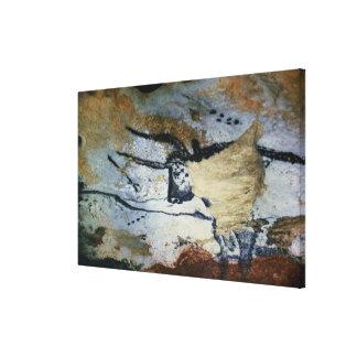 Oscile la pintura de un toro con los cuernos largo impresión en lienzo
