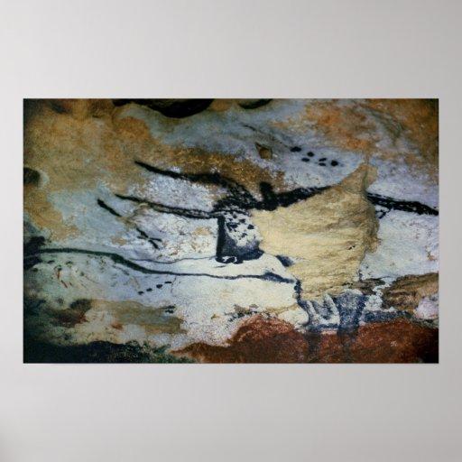 Oscile la pintura de un toro con los cuernos largo póster