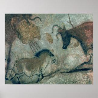 Oscile la pintura que muestra un caballo y una vac póster