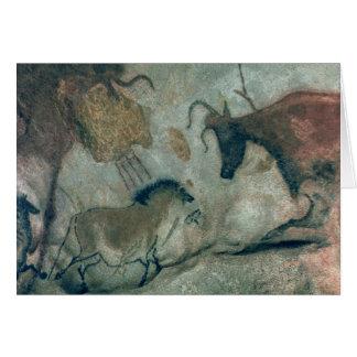 Oscile la pintura que muestra un caballo y una vac tarjeta de felicitación