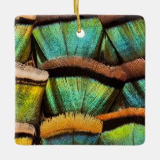 Oscillated Turkey feathers Ceramic Ornament