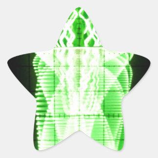 Oscilloscope Flowers in Vase Star Sticker