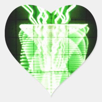Oscilloscope Flowers in Vase Heart Sticker