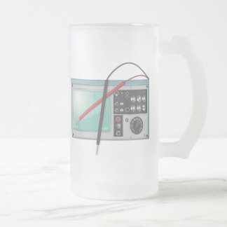 oscilloscope frosted glass beer mug