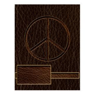 Oscuridad de Brown de la paz de la Cuero-Mirada Tarjeta Postal