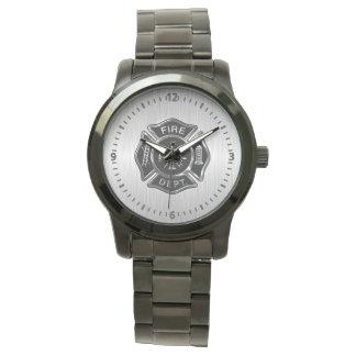 Oscuridad de la insignia del cuerpo de bomberos relojes de pulsera