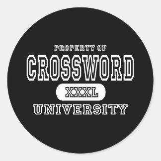 Oscuridad de la universidad del crucigrama pegatina redonda