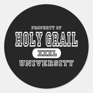 Oscuridad de la universidad del santo grial pegatina redonda