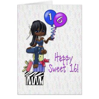 Oscuridad del chica del dulce 16 tarjeta de felicitación