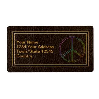 Oscuridad del color de la paz de la Cuero-Mirada Etiquetas De Envío