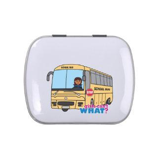 Oscuridad del conductor del autobús escolar frascos de dulces