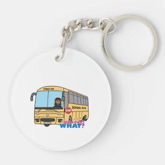 Oscuridad del conductor del autobús escolar llavero redondo acrílico a doble cara
