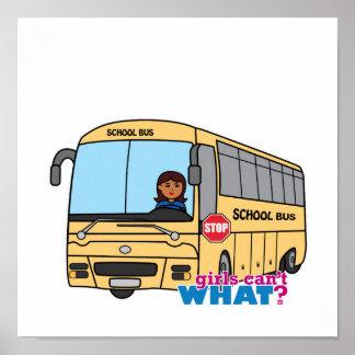 Oscuridad del conductor del autobús escolar póster