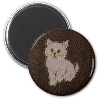 Oscuridad del gatito de la Cuero-Mirada Imán Para Frigorífico