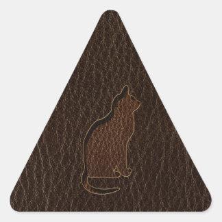 Oscuridad del gato de la Cuero-Mirada Pegatina Triangular
