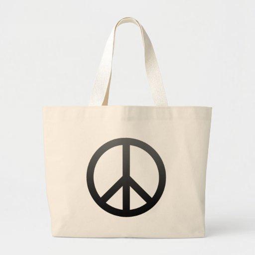 Oscuridad del símbolo de paz bolsa tela grande