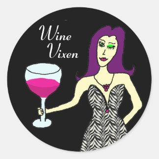 Oscuridad del Vixen del vino Pegatina Redonda