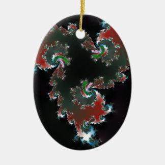 Oscuridad elegante adorno navideño ovalado de cerámica