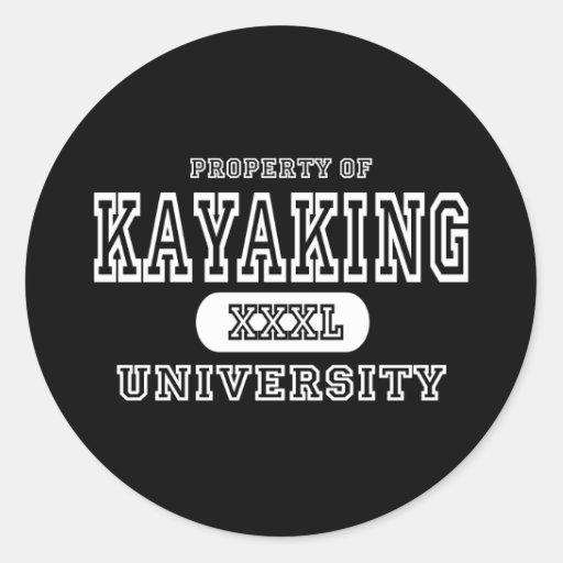 Oscuridad Kayaking de la universidad Pegatina Redonda