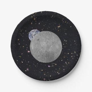 Oscuridad o lado lejano de la luna platos de papel