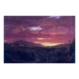 Oscuridad (puesta del sol) por la iglesia de Feder Posters