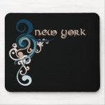 Oscuridad rizada azul de Nueva York Mousepad del r Alfombrillas De Ratones