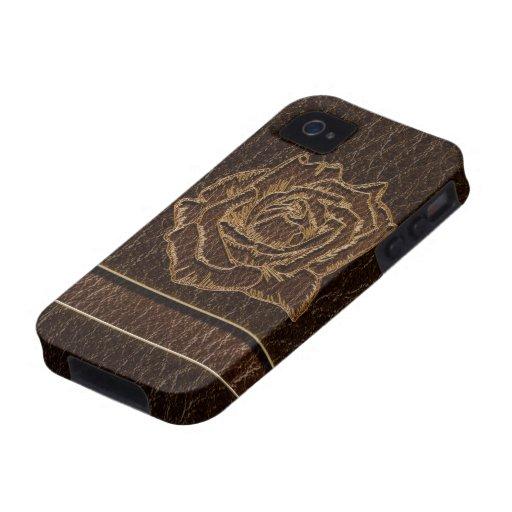 Oscuridad subió Cuero-Mirada iPhone 4/4S Carcasa