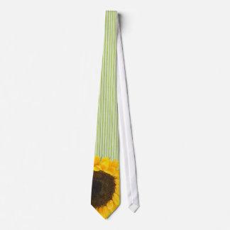 Oscuridad verde del lazo del girasol y raya verde corbatas personalizadas