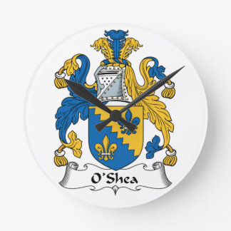 O'Shea Family Crest Round Wallclock