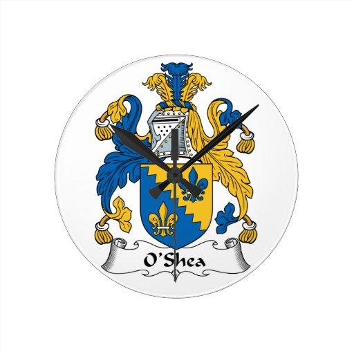 O'Shea Family Crest Round Clocks