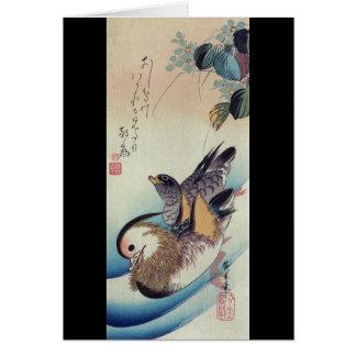 Oshidori Mandarin Ducks by Ando Hiroshige c. 1830 Greeting Card