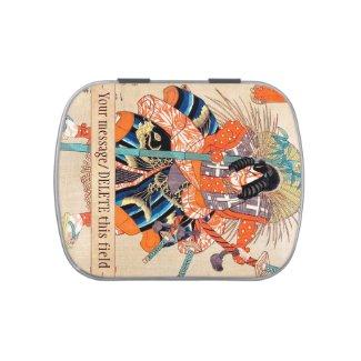 Oshimodori,from the series Eighteen Great Kabuki Candy Tins
