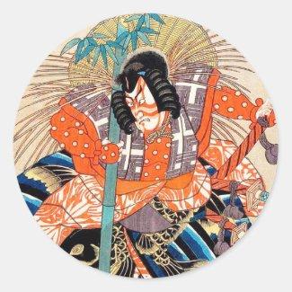 Oshimodori,from the series Eighteen Great Kabuki Round Stickers