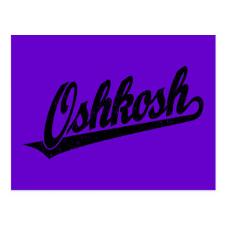 Oshkosh script logo in black distressed postcard