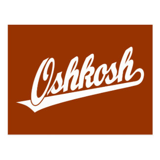 Oshkosh script logo in white postcard