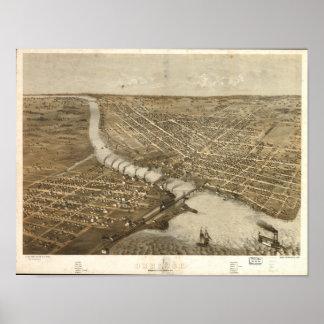 Oshkosh WI 1867 Antique Panoramic Map Poster