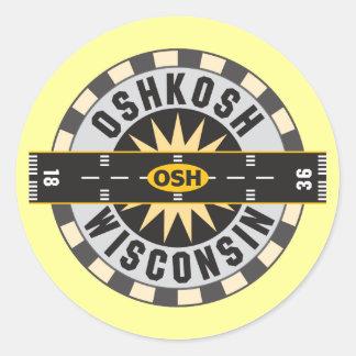 Oshkosh, WI OSH  Airport Classic Round Sticker