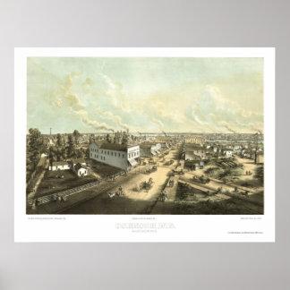 Oshkosh, WI Panoramic Map - 1850 Poster