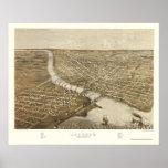 Oshkosh, WI Panoramic Map - 1887 Poster