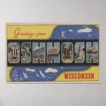 Oshkosh, Wisconsin - Large Letter Scenes Poster