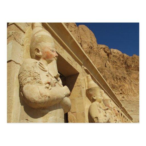 Osirian statues of Hatshepsut at her tomb Postcard