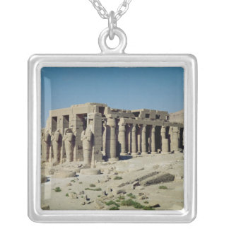 Osiride figures Ramesses II  flanking the walls Square Pendant Necklace