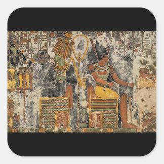 Osiris y with_Art asentado Atum de la antigüedad Pegatina Cuadrada