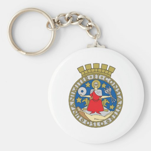 Oslo Coat Of Arms Basic Round Button Keychain